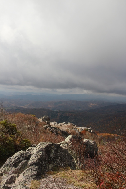 View from Little Pinnacle, with rocks like a dragon's backbone stretching down to the valley.